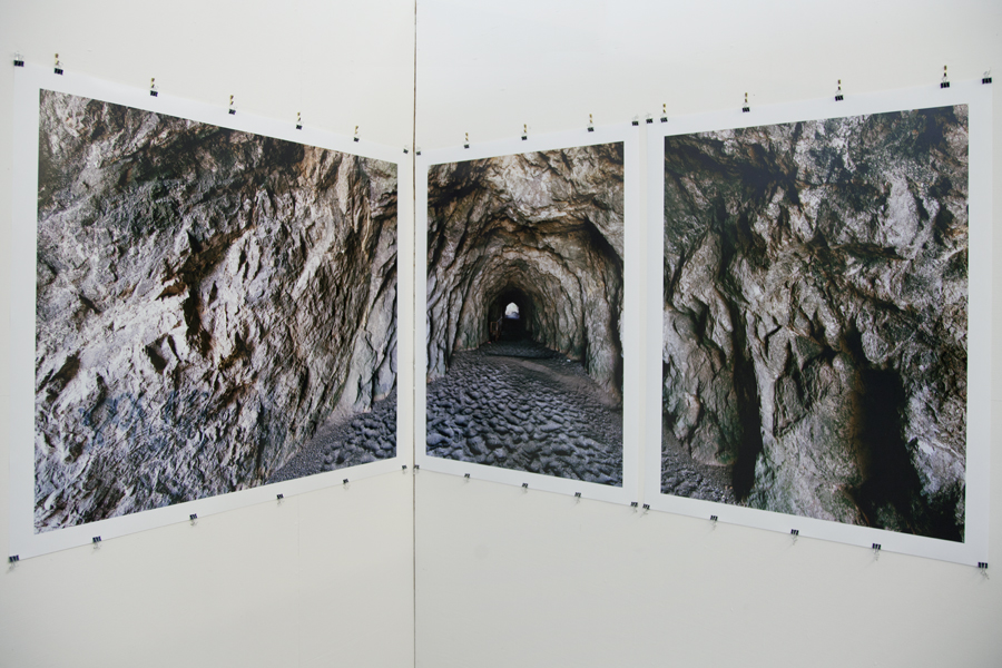 Three photographs of the Sutro Bath cave installed in corner of my studio.
