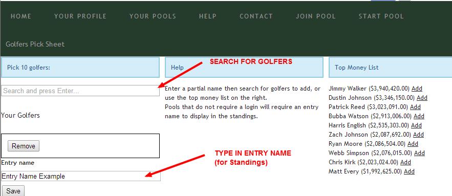 Golf Pick Sheet
