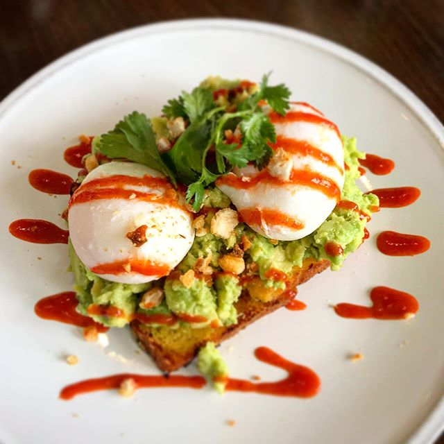 Avocado & eggs on cornbread.