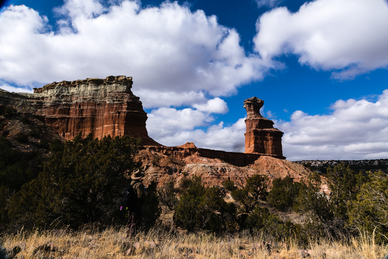 "Billy Murphy in front of ""The Lighthouse,"" in Palo Duro Canyon, January 2013"