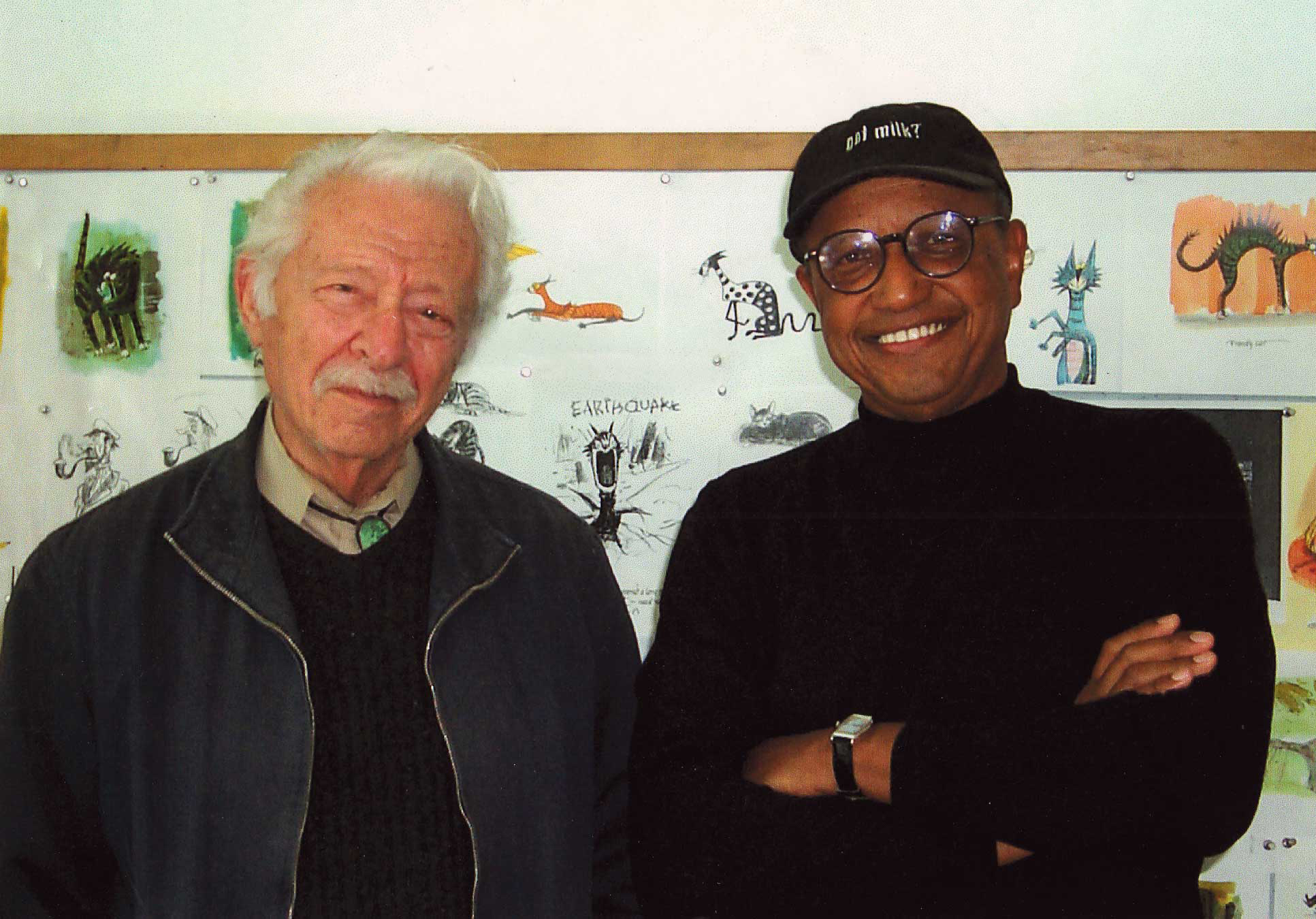 Disney Legend, Joe Grant and some young kid. Joe is proof that it doesn't hurt to grow old in the animation business.