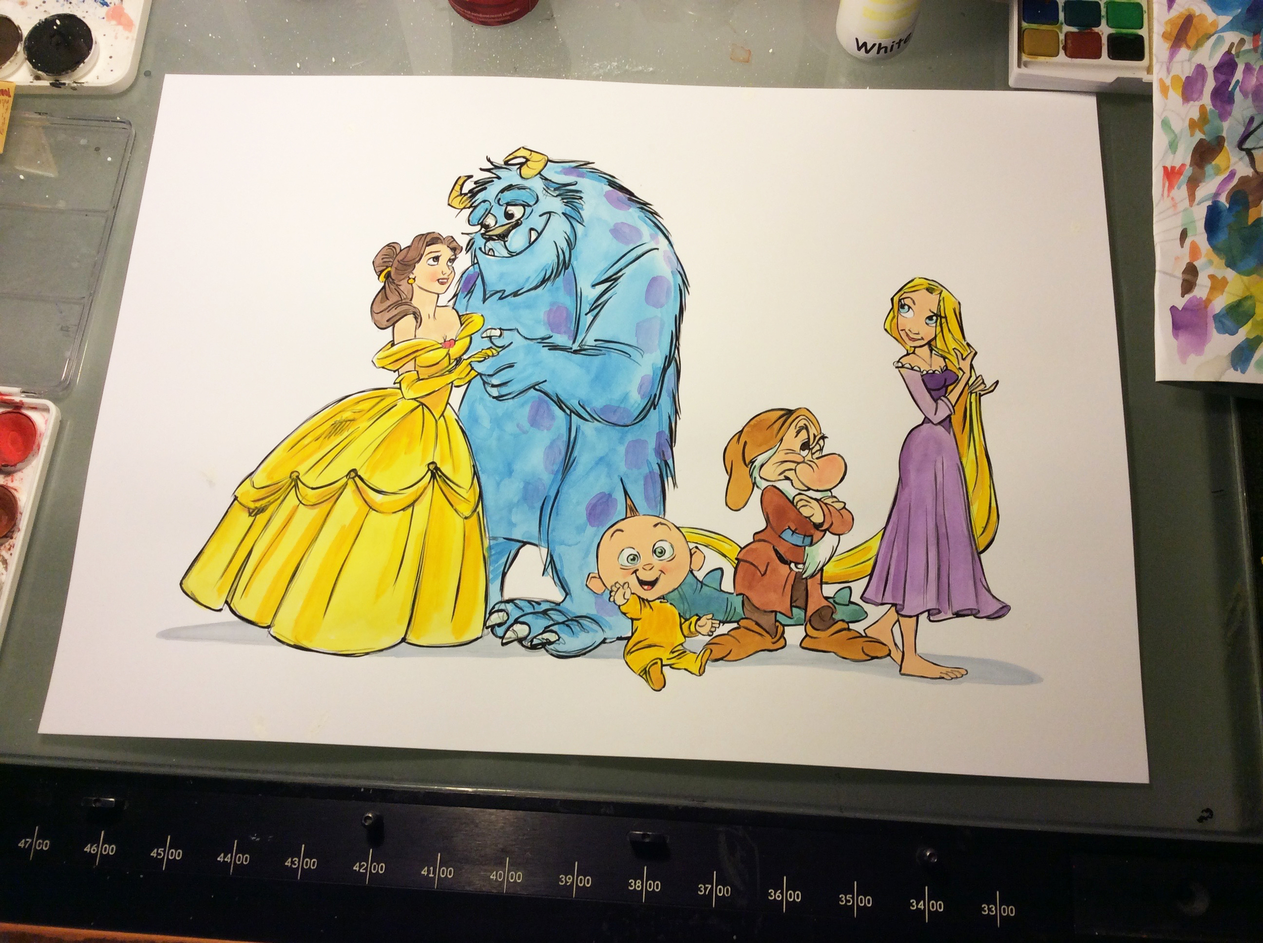 It was fun to create this cartoon family portrait for an animation artist and his family.