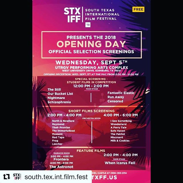 Very thrilled and honored that North & Nowhere is playing at the opening day of @south.tex.int.film.fest congratulations to my amazing cast & crew that made this film happen! We have played over 50 festivals! #Repost @south.tex.int.film.fest with @get_repost ・・・ Our 4th Annual STXIFF OPENING DAY is here folks! Come out and join us! #stxiff 🎥🎬 --- Today's events are all FREE to the public! . . . . . . . #southtexas #international #filmfestival #edinburg #texas #film #festival #entertainment #showbiz #filmindustry #openingday #screenings #filmscreenings #filmstudents #utrgv #rgv