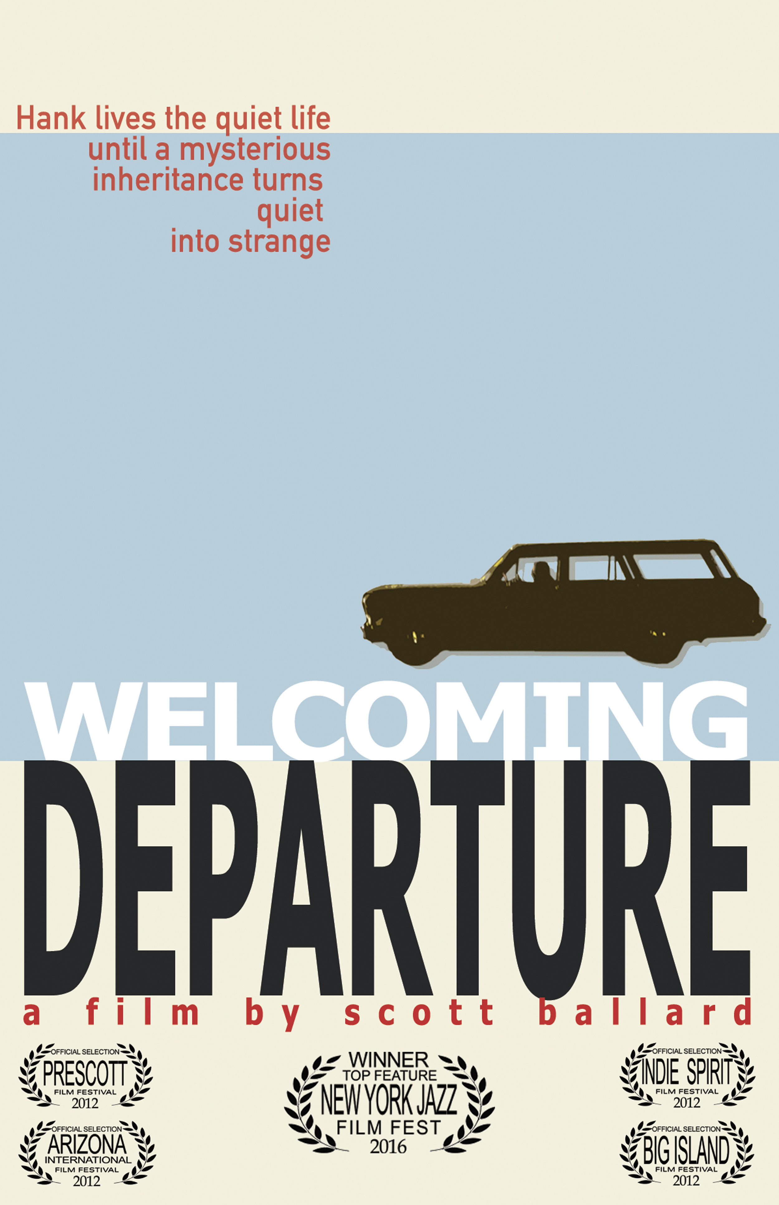 Welcoming Departure - Written, Directed, Produced & Edited by Scott BallardFeature Film - 2012 - 68 MinutesHank enjoys the quiet life. As a night custodian his evenings are sequestered in a methodical work routine. With the arrival of a mysterious elderly Norwegian woman, the patterns of his life begin to unravel. Heartwarming, heartbreaking and funny, Welcoming Departure is a jazz inspired portrait exploring the challenges of change.