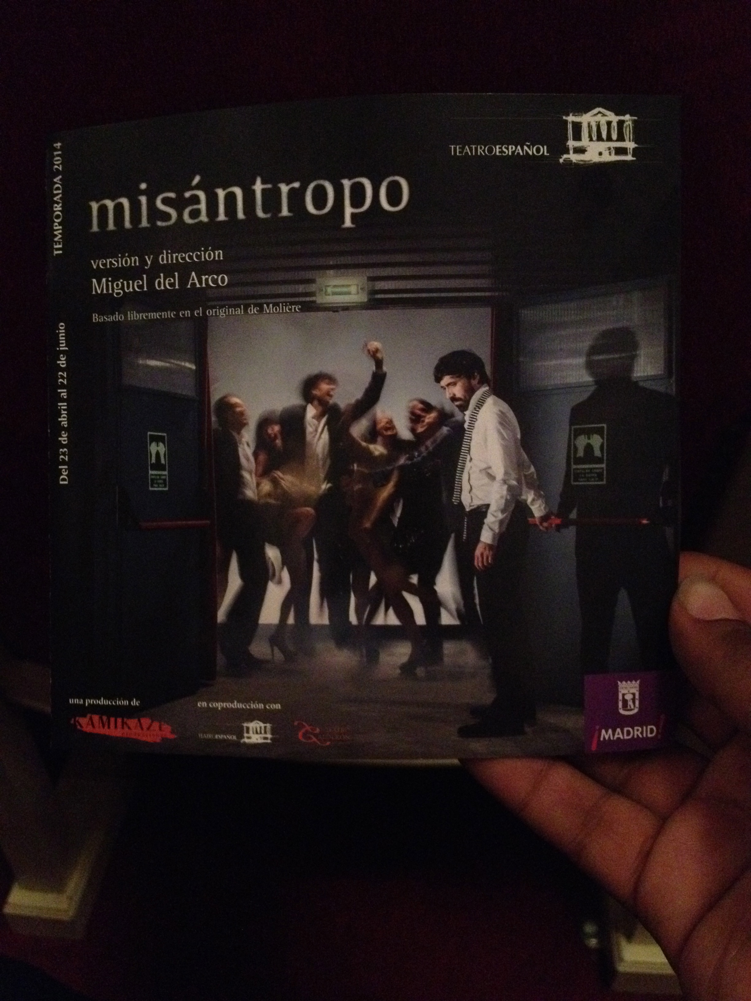 "Playbill for ""MIsantropo"""