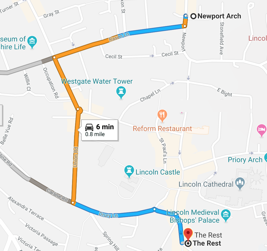 From Lincoln Cathedral or any point entering Lincoln from the North such as Burton Road or Newport.  If you are going to the  car park first please click here