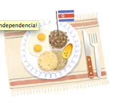 Google.com pays tribute to Costa Rica on September 15th