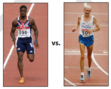 Ha, look at that guy on the left. Vibrams, am I rite? Rather be that guy on the right. J/k, and you can probably guess which one is the sprinter in this situation.