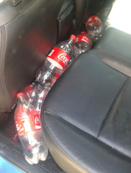 This was about a week's worth of buildup - I cleaned my car of empty bottles once a week