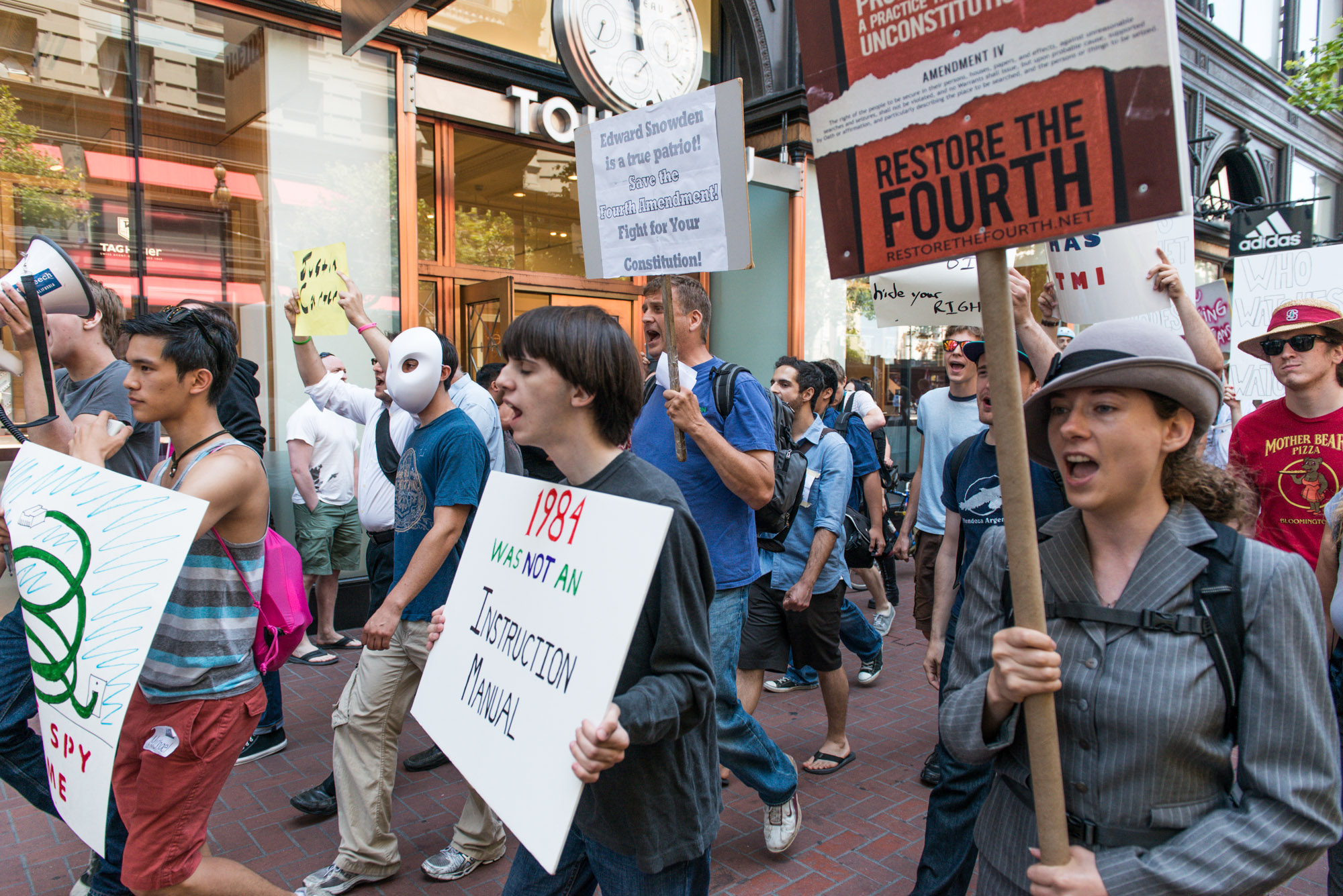 Hundreds of people protest against the NSA