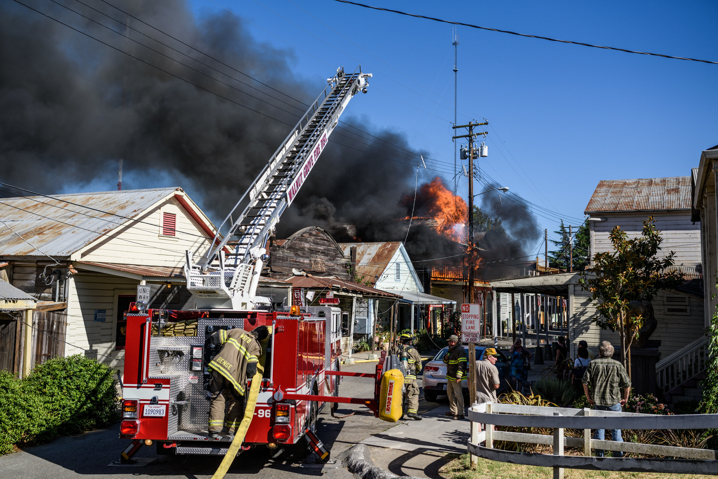 Fire in historically Chinese Locke, California