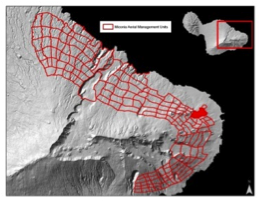 Figure 2. Aerial and ground management units are defined by elevation, topography and miconia density.  Image courtesy of Brooke Mahnken.
