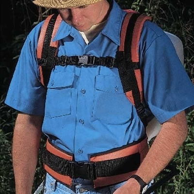 The Deluxe Shoulder Saver Harness can lessen fatigue with backpack spraying.