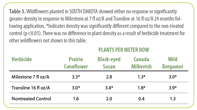 Table 3.  Wildflowers planted in SOUTH DAKOTA showed either no response or significantly greater density in response to Milestone at 7 fl oz/A and Transline at 16 fl oz/A 24 months following application. *Indicates density was significantly different compared to the non-treated control (p<0.05). There was no difference in plant density as a result of herbicide treatment for other wildflowers not shown in this table.