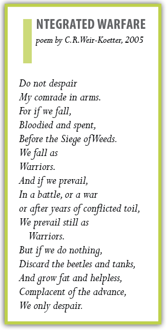 Integrated Warfare    poem by C.R. Weir-Koetter, 2005    Do not despair    My comrade in arms.    For if we fall,    Bloodied and spent,    Before the Siege of Weeds.    We fall as    Warriors.    And if we prevail,    In a battle, or a war    or after years of conflicted toil,    We prevail still as    Warriors.    But if we do nothing,    Discard the beetles and tanks,    And grow fat and helpless,    Complacent of the advance,    We only despair.