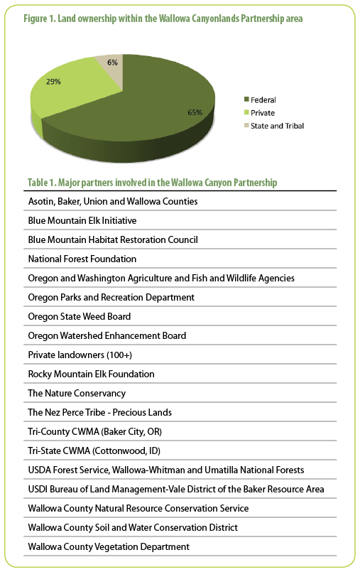 Figure 1. Land ownership within the Wallowa Canyonlands Partnership area (top)  Table 1. Major partners involved in the Wallowa Canyon Partnership (bottom)