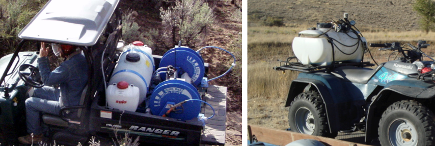 Remote control retractable hose reels are best suited for UTVs that have a greater weight payload. Hose reels are often not used on ATVs because the extra weight added by the reel does not justify its use. Several applicators interviewed use about 15 feet of hose with their ATV and wrap it around the tank or rack to keep the hose from catching on brush. (Photos by Ken Morin).