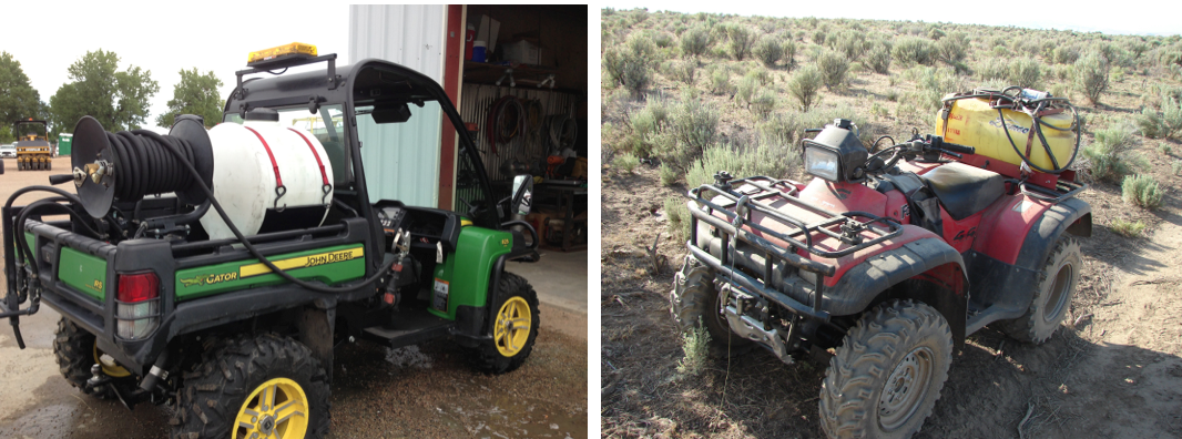 Utility Terrain Vehicles (left) and All Terrain Vehicles (right) each have their benefits for use as herbicide spray platforms. (Photos by Bobby Goeman, left; and Ken Morin, right).