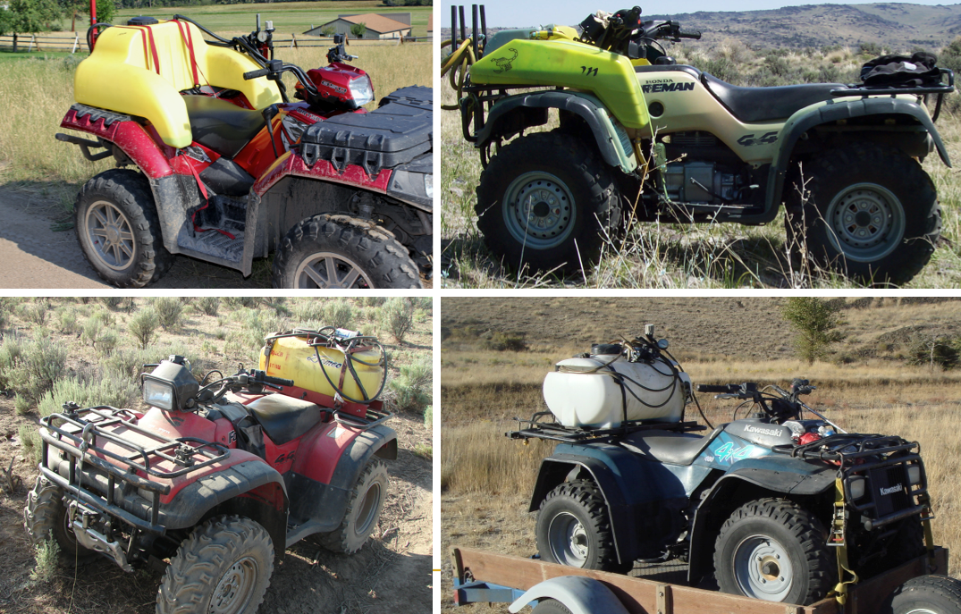 Rear mounted contour tank (top left), Front mounted contour tank (top right), Rear mounted rectangular tank (bottom left), Rear mounted cylindrical tank (bottom right). (Photos by Celestine Duncan, top left; and Ken Morin).