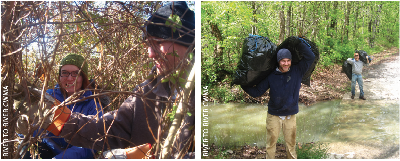 Volunteers Misty Dodd and Jason Willand  remove Japanese honeysuckle vines to release young trees in an oak restoration project at a Green Earth Inc. property (left), and  Dan Stroh and Rob Stroh  carry bags of garlic mustard removed during a control project (right).