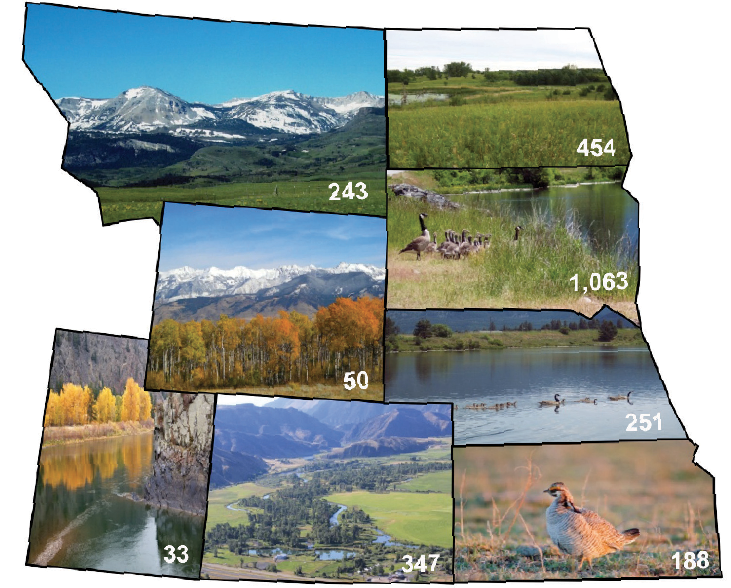 Figure 1.  The Partners for Fish and Wildlife Program has completed 2,629 projects in the Mountain-Prairie Region between 2007 and 2011: 243 in Montana, 454 in North Dakota, 50 in Wyoming, 1,063 in South Dakota, 251 in Nebraska, 33 in Utah, 347 in Colorado, and 188 in Kansas.