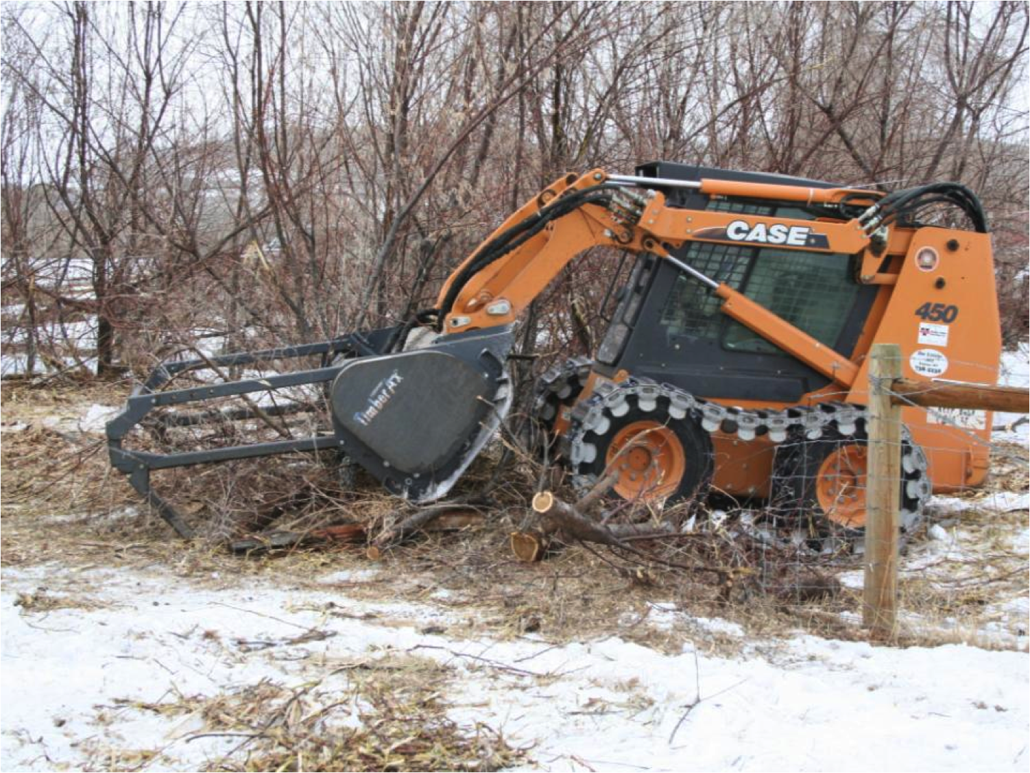Figure 1. Mulcher removing top growth of Russian olive trees in Wyoming. Photo by Mary Halstvedt.
