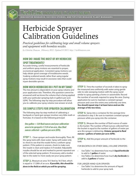 Herbicide Sprayer Calibration Guidelines — TechLine Invasive Plant News