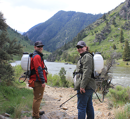 Figure 6.  Jacob Huffied and Chase Grover, Madison County Weed District, pause on the trail prior to treating weeds.