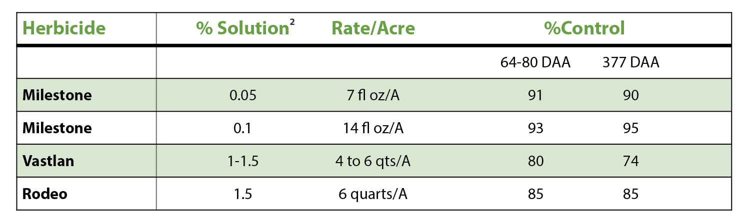 TABLE 1:  Percent purple loosestrife control with Milestone® or Vastlan® herbicides, compared to Rodeo® herbicide the season of application and one year following application. [ 1 ] (DAA=Days After Application)