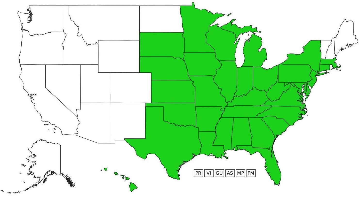 Figure 1: Distribution of sericea lespedeza in the United States (eddmaps 2019)