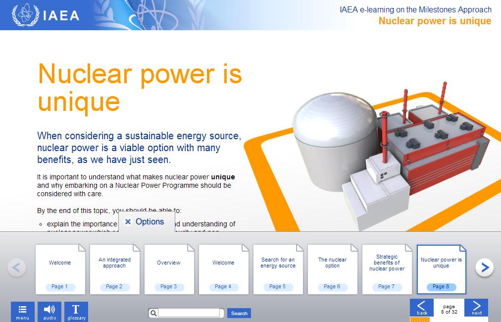 Sample IAEA E-learning modules.