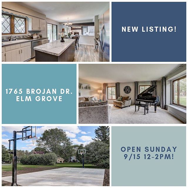 Stop by our New Listing -Open Today 9/15 12-2pm. 5 Br 2.5 Ba home on  1 ac level lot in Elm Grove WI MLS#1658968 #elmgrove #m3realty  #luxuryhomes #elmbrookschools #bringyourhoopsgame