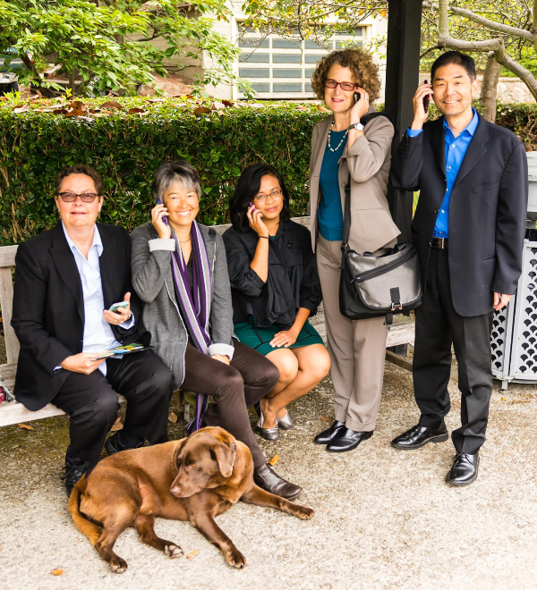 Call us if you need support for your fundraising program! — The Klein & Roth team (L-R): Kim, Nancy, Rona, Stephanie and Stan, with Nancy's dog Molé