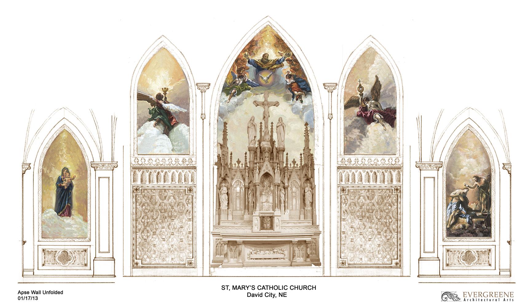 Proposed interior murals by EverGreene Architectural Arts