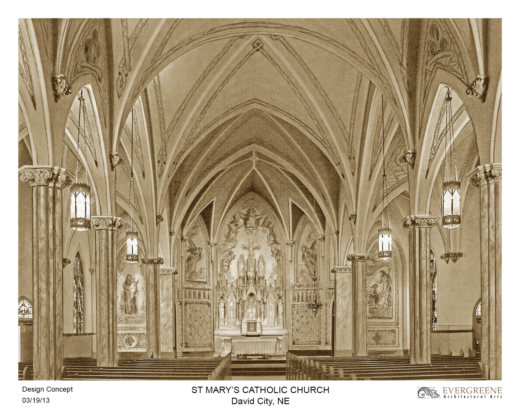 Rendering of interior by EverGreene Architectural Arts