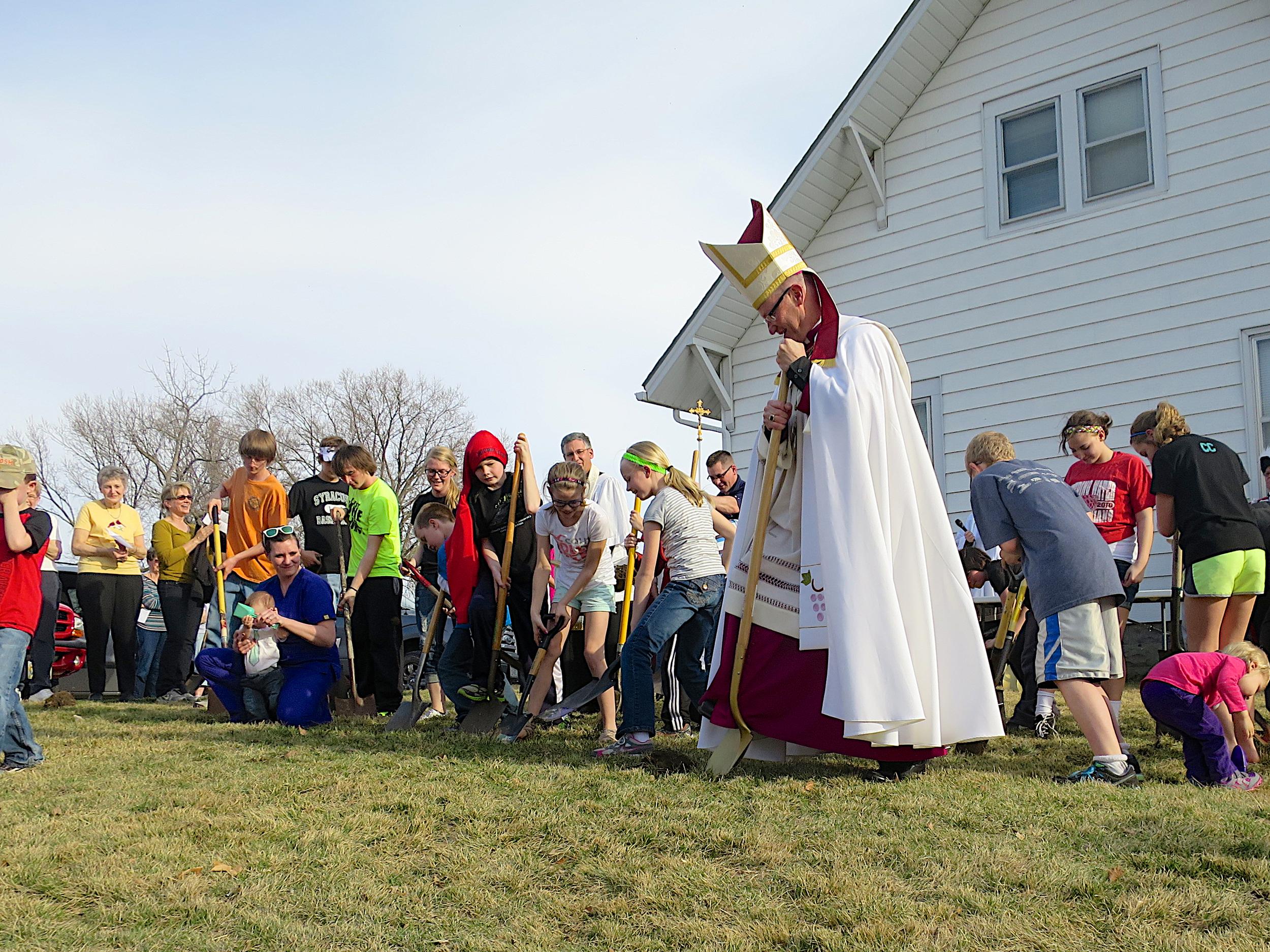 2014-04-09 Groundbreaking with Bishop Conley