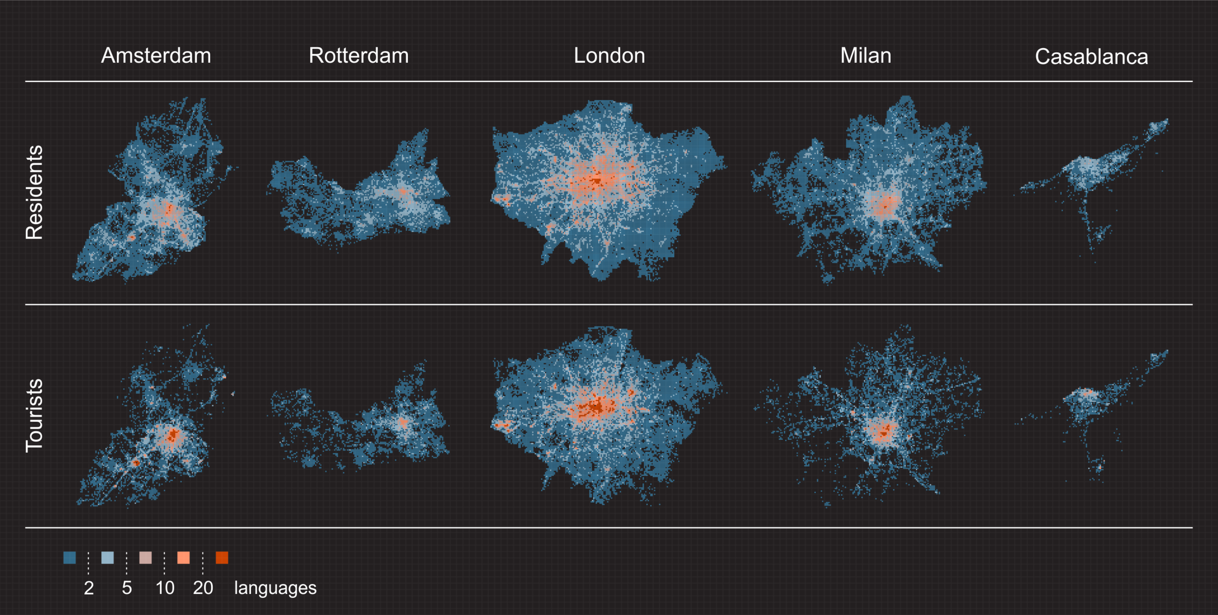Spatial diversity of languages in five studied cities.  Number of languages used on Twitter by residents (top) and tourists (bottom). Both groups share common hot-spots of language diversity in the city center and near airports. Yet, while the  increased diversity for tourists concentrates only around those hot-spots, increased mixture of residential population spreads wider, covering different pars of the cities or even suburbs.