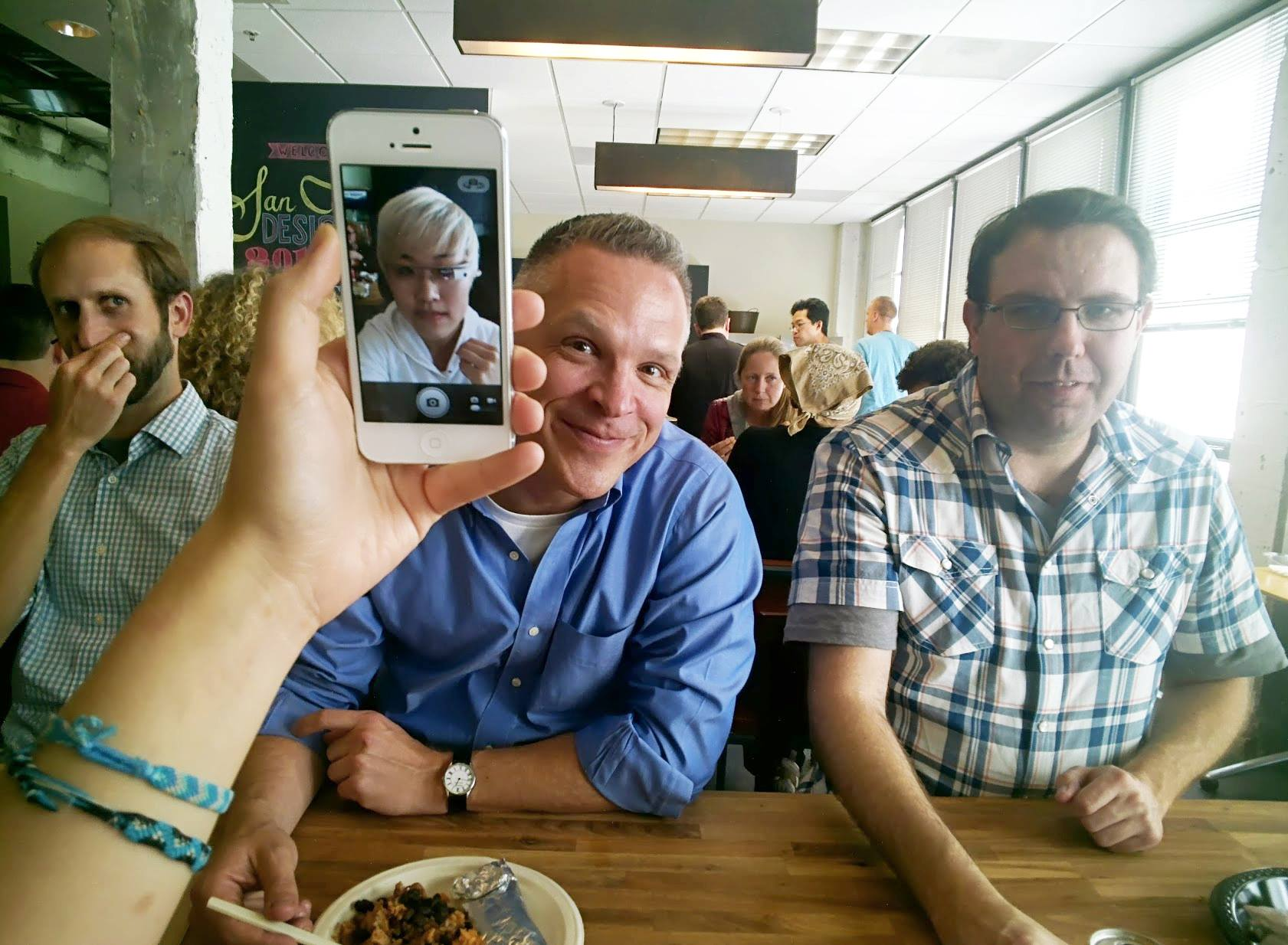 super-meta selfie taken by Glass during lunch. :)
