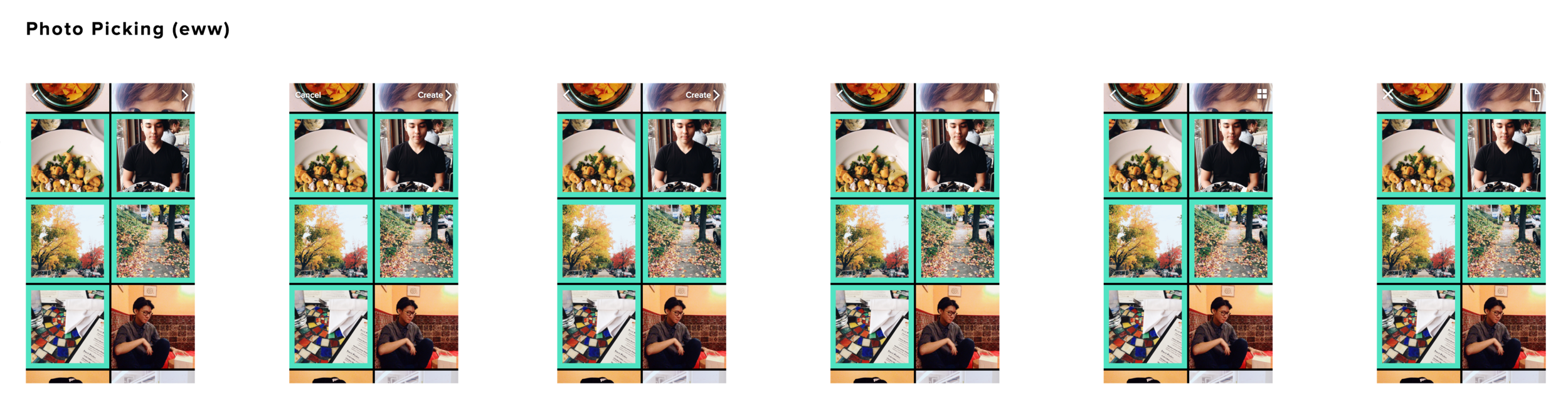 testing out different icons for the photo picking stage of creation