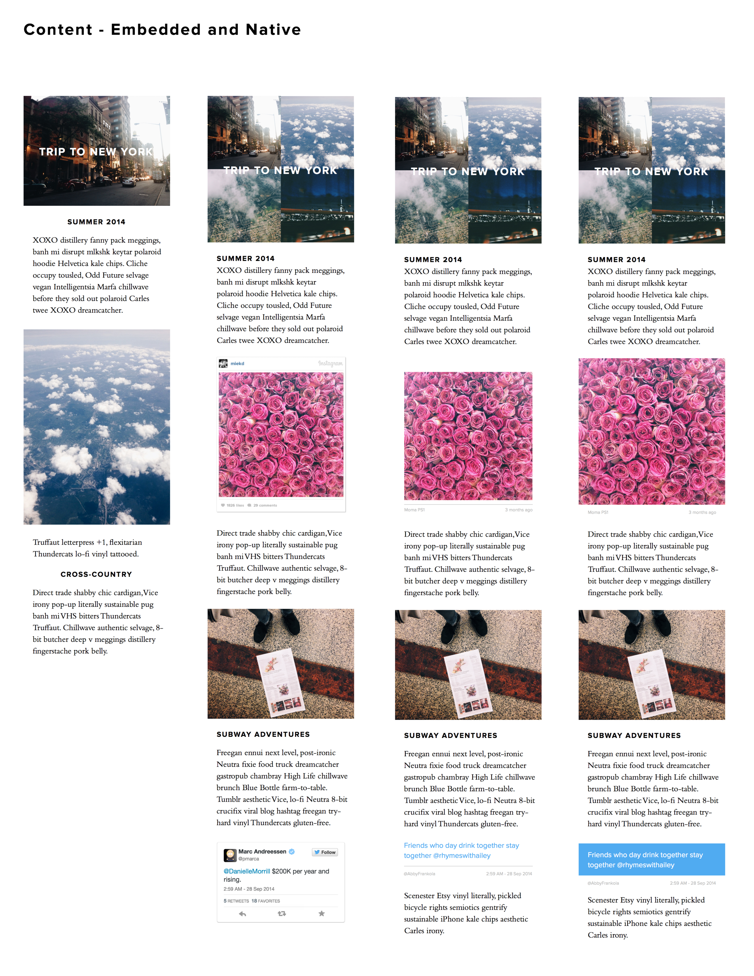 testing out different styles for embedded content - here, we see Instagram and Twitter pulled into a Yesterday story