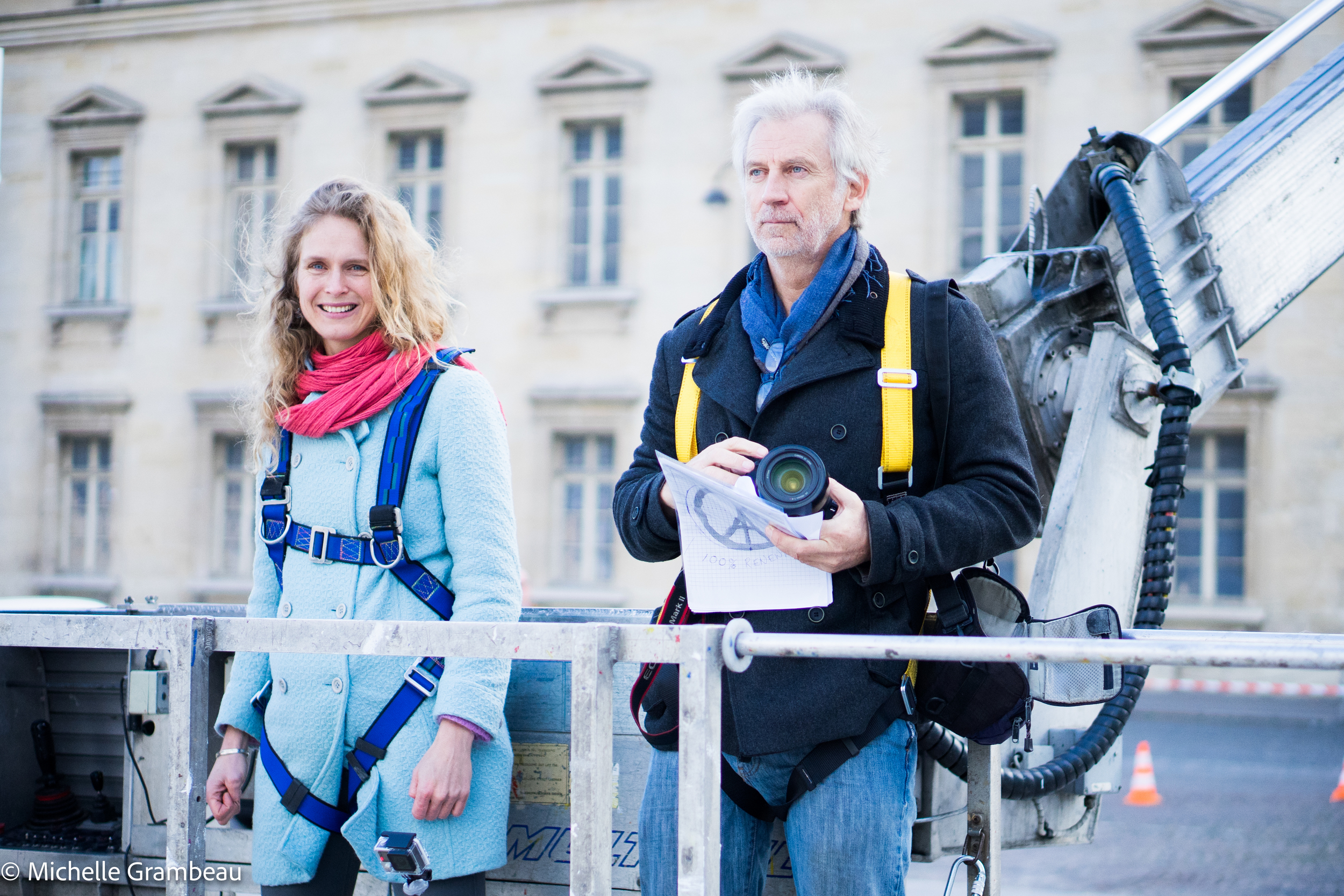 John Quigley and Magalie Bonneau - co-producers, scouting early morning from a 52m crane. Drone use was prohibited.