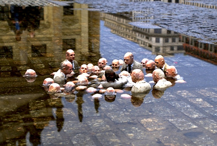 "In his series ""Waiting for Climate Change,""  Isaac Cordal  creates a set of ephemeral and partially submerged installations to draw attention to rising sea level change [ Inhabitat ]. This art was definitely not at the conference."