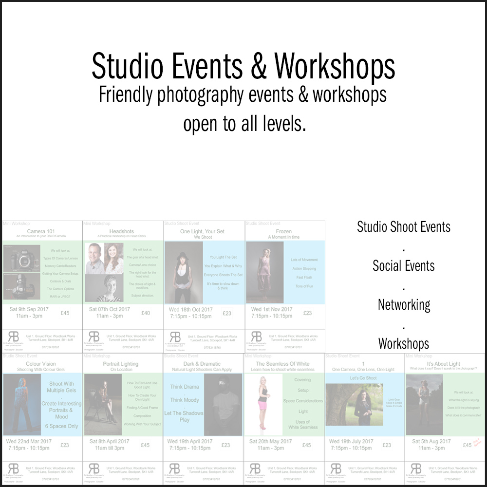 Studio Events & Workshops - Your place to find out about upcoming photography events & workshops at the studio. The friendly place in Stockport to learn photography & shoot.