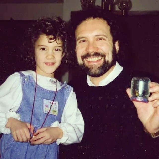 Dad and I. He's hold a DIY snowglobe I made in school from a baby food jar :)