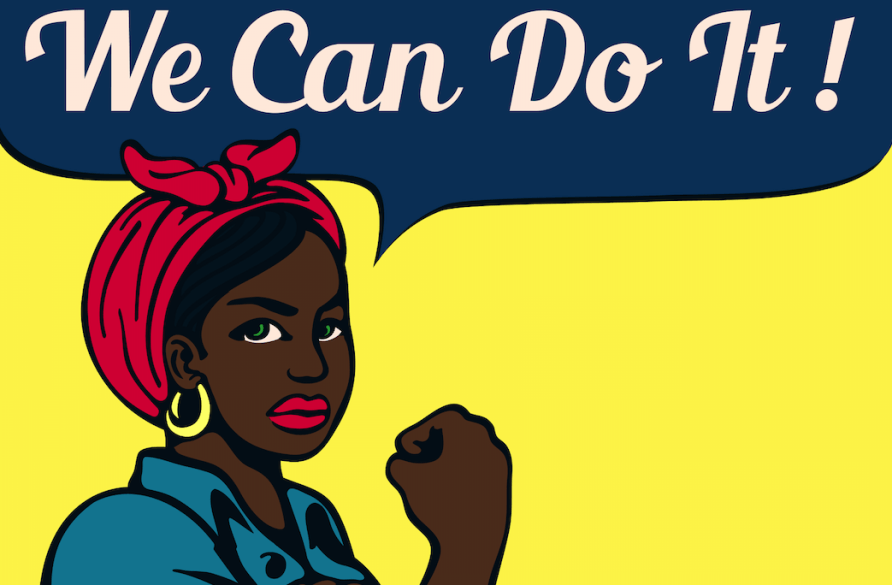 """[feature image shows infamous """"Rosie the Riveter"""" art piece with black woman as """"Rosie""""–flexing her bicep, and text above says: """"We Can Do It!""""    via   ]"""