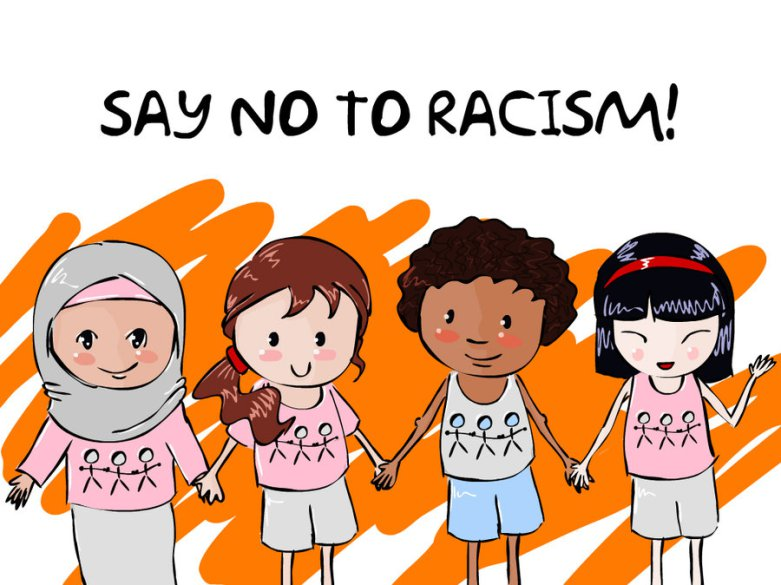"[feature image of drawing of four child-like people holding hands. They are of different races and text above them says: ""Say NO to Racism""    via   ]"