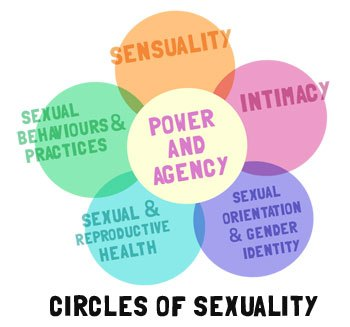 """[feature image shows six circles in the shape of a flower. From left to right, the circles say: """"Sexual & Reproductive Health"""", """"Sexual Behaviours & Practics"""", """"Sensuality"""", """"Intimacy"""", """"Sexual Orientation & Gender Identity"""", and circle in center says, """"Agency""""    via   ]"""