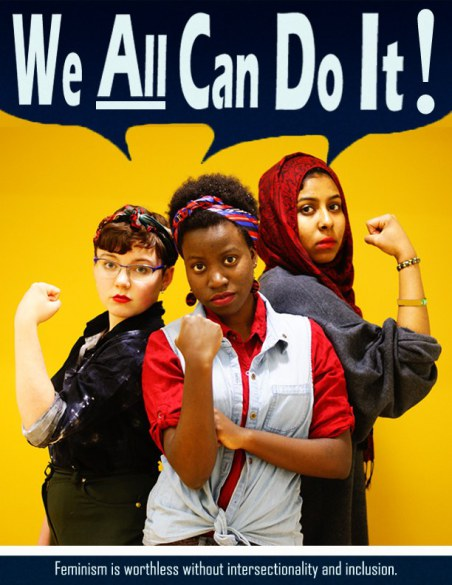 """[feature image shows 3 women of varying cultures–all flexing their biceps. The sign behind them says: """"We ALL can do it!""""]"""