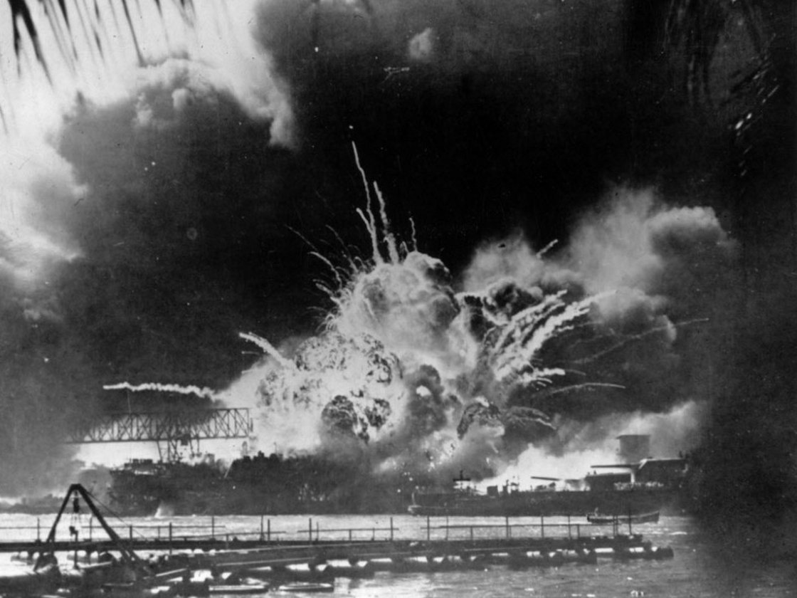 Dec. 7, 1941: The USS Shaw explodes during the Japanese attack on Pearl Harbor. (Photo courtesy of NPR)