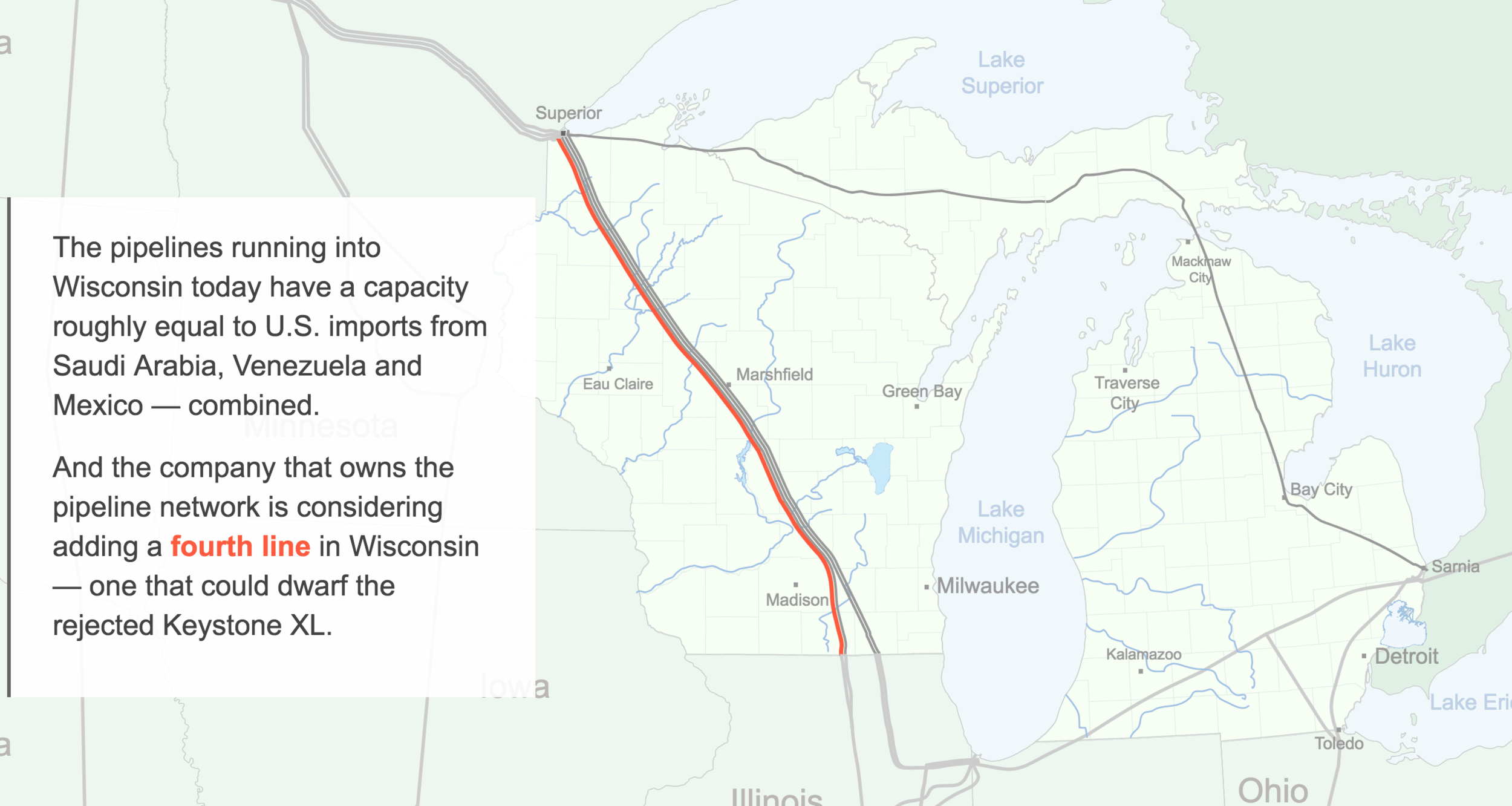 Oil and Water - A look at the two 64-year-old pipes at the bottom of the Straits of Mackinac, and what it could mean for Wisconsin if they are shut down.ROLE: Storyboarding and design of introduction graphic, front-end design for series